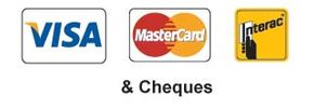 Visa, MasterCard, Interac, and cheques